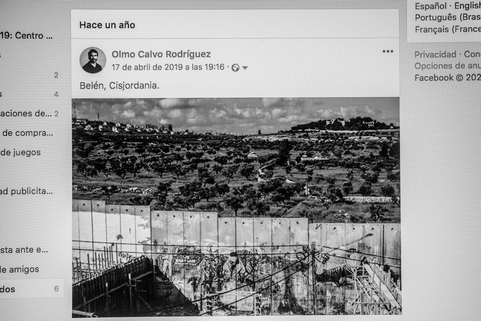 """Antes del confinamiento ignoraba casi por completo las notificaciones de las redes sociales que te recuerdan qué hacías hace un año, o dos, o tres, o los que fueran. Sin embargo, reconozco que ahora me gusta sentir ese pellizquito de nostalgia que te sitúa en los recuerdos como si de otra vida se tratara. Hace justo un año, Olmo y yo estábamos en Palestina, visitando a nuestra amiga Cristina corresponsal allí y conociendo uno de los lugares más castigados del planeta. Nos lo recuerda Facebook con una foto que tomó Olmo desde el campo de refugiados de Aida (en Belén) en la que se puede ver cómo se impone el muro israelí: máxima expresión de la vergüenza, el apartheid, la ocupación y la violencia hacia el pueblo palestino. Un pueblo que, pese a tantas injusticias, sigue en pie porque, como ellos mismos dicen, """"Existir es resistir""""."""