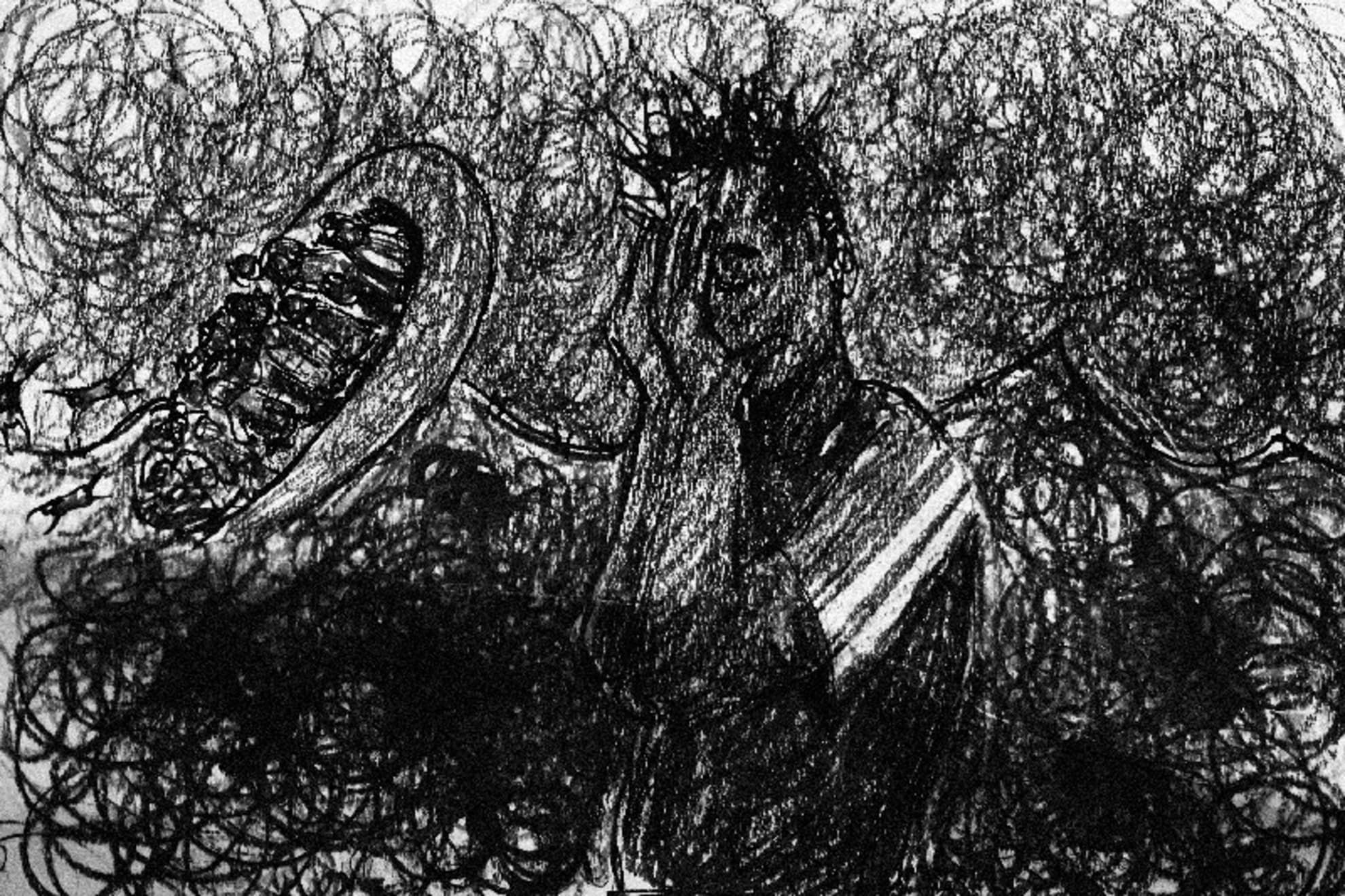 Un dibujo del refugiado Mohammed de Burkina Faso que muestra el barco hundiéndose en el mar en el primer centro de recepción de Saline.