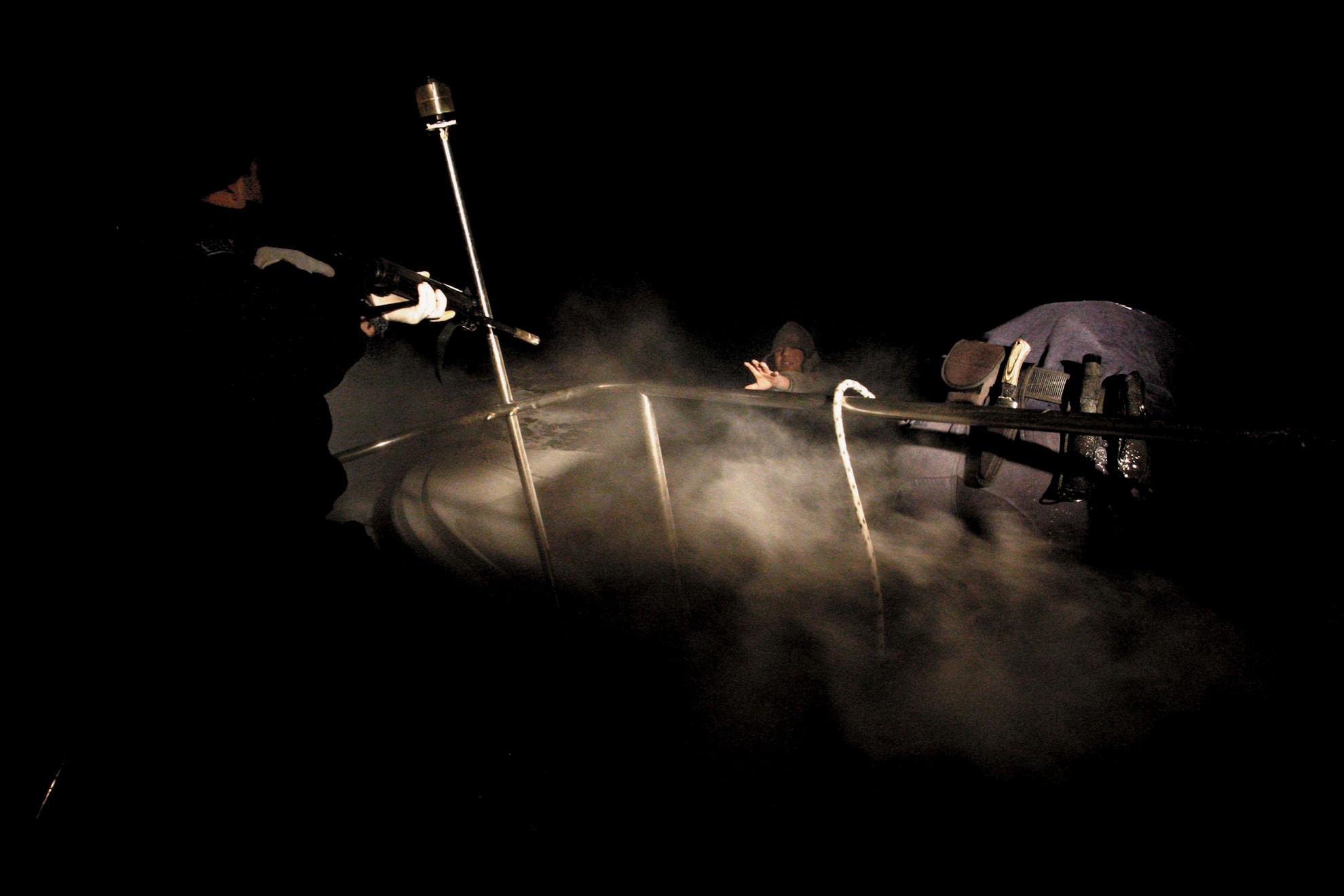 Patrullas nocturnas en el mar Egeo.