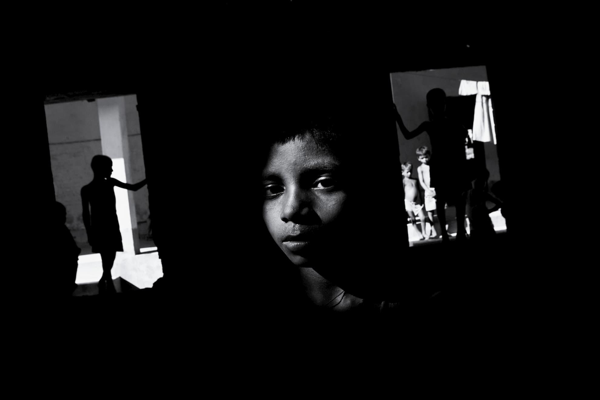 10 de septiembre de 2008; niños afectados por las inundaciones en un campo de socorro temporal gestionado por la ONG Project Concern International en el Estado de Bihar, en el nordeste de la India.